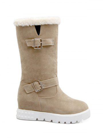Double Buckles Hidden Wedge Snow Boots - Apricot - 38