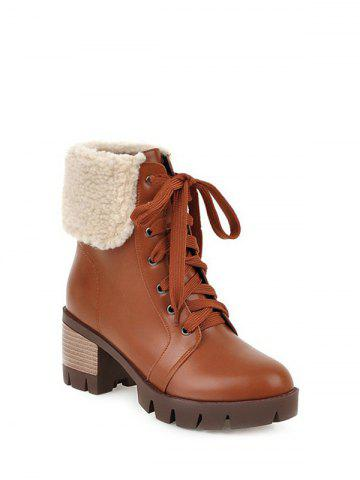 Trendy Faux Shearling Chunky Heel Lace-Up Boots - 39 BROWN Mobile