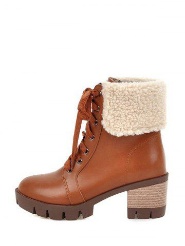 Shop Faux Shearling Chunky Heel Lace-Up Boots - 39 BROWN Mobile