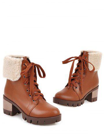Affordable Faux Shearling Chunky Heel Lace-Up Boots - 39 BROWN Mobile