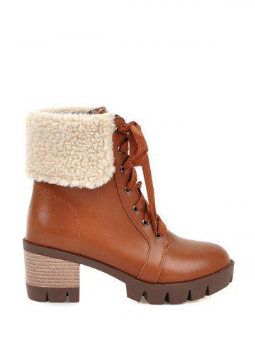 Fancy Faux Shearling Chunky Heel Lace-Up Boots - 39 BROWN Mobile