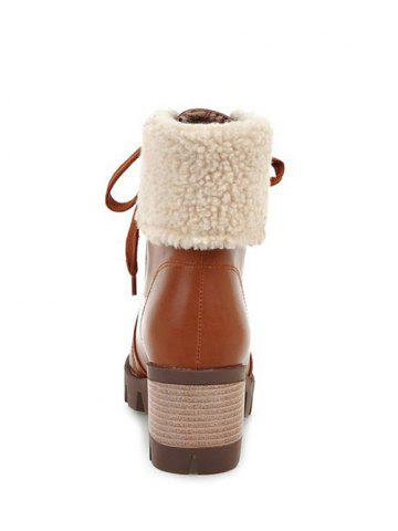 Best Faux Shearling Chunky Heel Lace-Up Boots - 39 BROWN Mobile