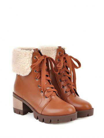 Latest Faux Shearling Chunky Heel Lace-Up Boots - 39 BROWN Mobile