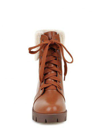 Hot Faux Shearling Chunky Heel Lace-Up Boots - 39 BROWN Mobile