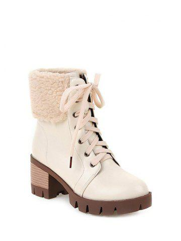 Affordable Faux Shearling Chunky Heel Lace-Up Boots - 39 OFF-WHITE Mobile