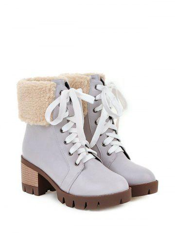 Chic Faux Shearling Chunky Heel Lace-Up Boots - GRAY 37 Mobile
