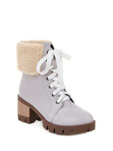 Unique Faux Shearling Chunky Heel Lace-Up Boots - GRAY 37 Mobile