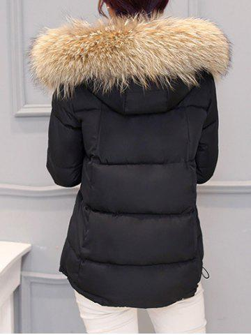 New Slim Faux Fur Collar Puffer Jacket - M BLACK Mobile