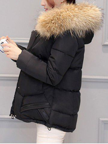Sale Slim Faux Fur Collar Puffer Jacket - M BLACK Mobile