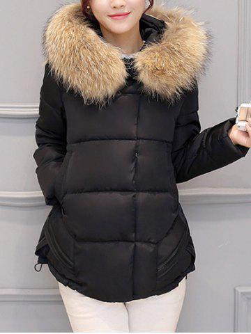 Shops Slim Faux Fur Collar Puffer Jacket - M BLACK Mobile