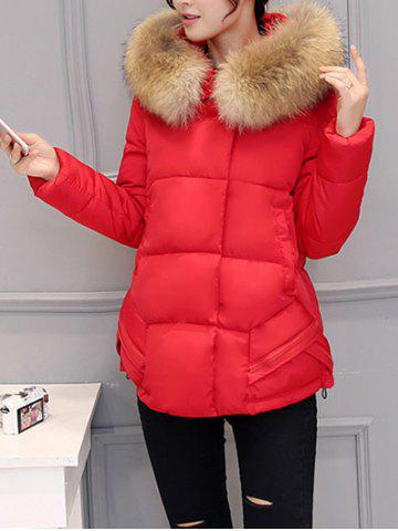 New Slim Faux Fur Collar Puffer Jacket - XL RED Mobile