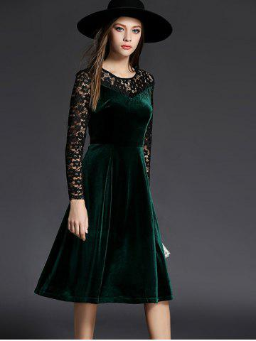 Chic Long Sleeve Lace Spliced Knee Length Flare Dress GREEN 2XL