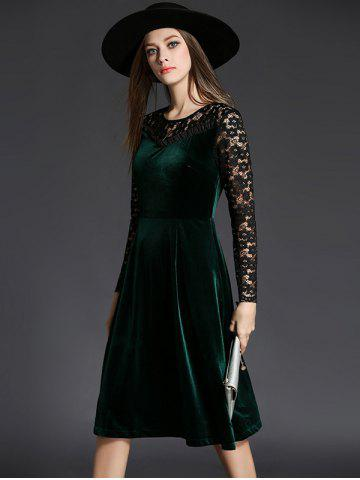 Unique Long Sleeve Lace Spliced Knee Length Flare Dress - L GREEN Mobile