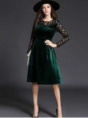 Best Long Sleeve Lace Spliced Knee Length Flare Dress - L GREEN Mobile