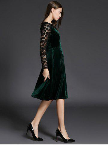 Shops Long Sleeve Lace Spliced Knee Length Flare Dress - L GREEN Mobile