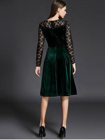 Sale Long Sleeve Lace Spliced Knee Length Flare Dress - L GREEN Mobile
