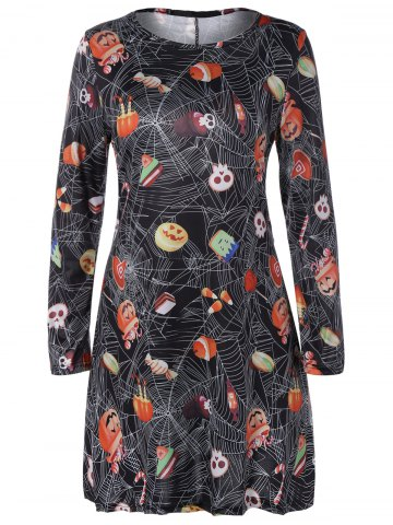Affordable Pumpkin Skull Hallowmas Print Mini Swing Dress