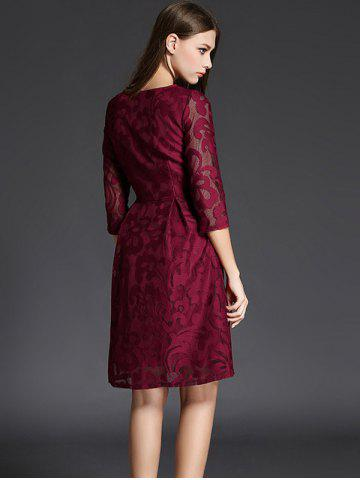 Sale 3/4 Sleeve Crochet Flare Dress - XL CLARET Mobile
