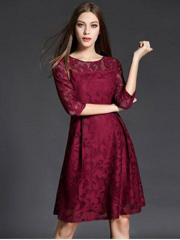 Fancy 3/4 Sleeve Crochet Flare Dress - XL CLARET Mobile