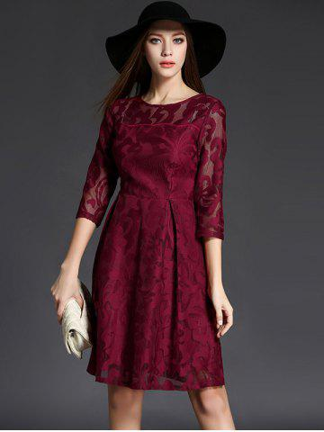 Affordable 3/4 Sleeve Crochet Flare Dress - XL CLARET Mobile