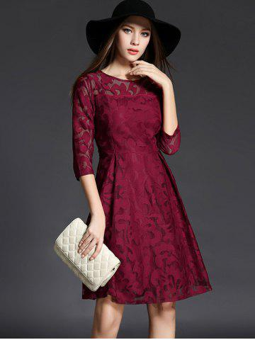 Store 3/4 Sleeve Crochet Flare Dress - XL CLARET Mobile