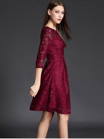 Cheap 3/4 Sleeve Crochet Flare Dress - XL CLARET Mobile
