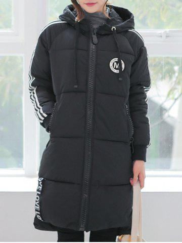 Striped Slim Long Quilted Coat