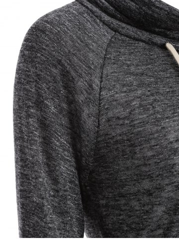 New Color Block High Neck String Sweatshirt - L GRAY Mobile