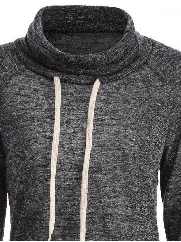 New Color Block High Neck String Sweatshirt - M GRAY Mobile