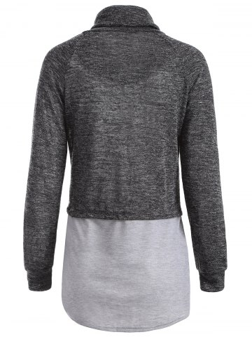Sale Color Block High Neck String Sweatshirt - M GRAY Mobile
