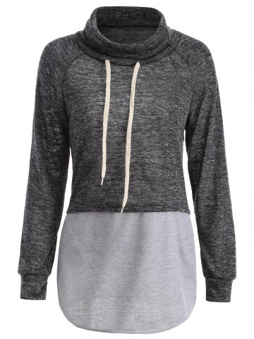 Sale Color Block High Neck String Sweatshirt - S GRAY Mobile