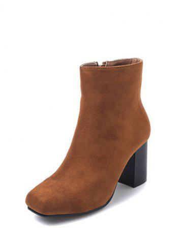 Store Zipper Square Toe Chunky Heel Ankle Boots - 39 BROWN Mobile