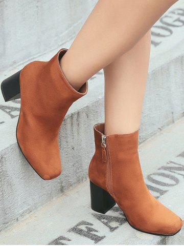 Latest Zipper Square Toe Chunky Heel Ankle Boots - 39 BROWN Mobile