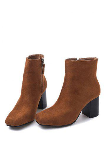 New Zipper Square Toe Chunky Heel Ankle Boots - 39 BROWN Mobile