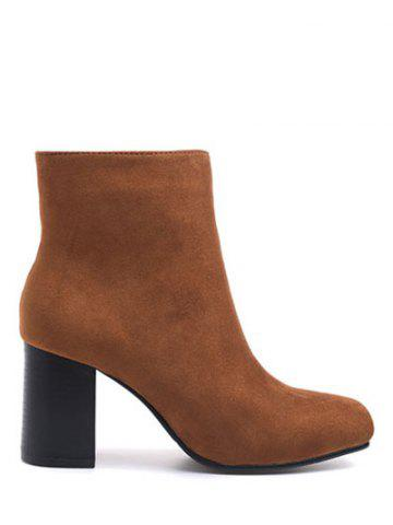 Chic Zipper Square Toe Chunky Heel Ankle Boots BROWN 39
