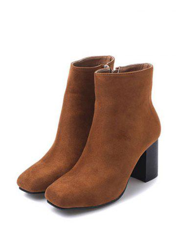Affordable Zipper Square Toe Chunky Heel Ankle Boots - 39 BROWN Mobile