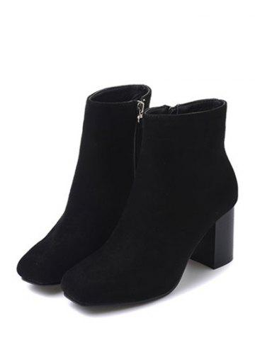 Chic Zipper Square Toe Chunky Heel Ankle Boots - 38 BLACK Mobile