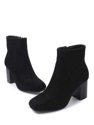 Discount Zipper Square Toe Chunky Heel Ankle Boots - 38 BLACK Mobile