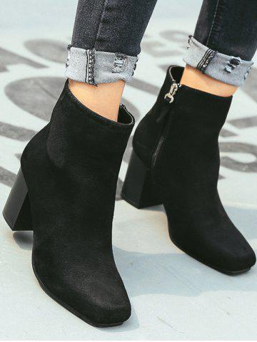 Sale Zipper Square Toe Chunky Heel Ankle Boots - 38 BLACK Mobile