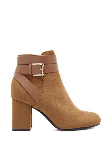 Online Cross Straps Buckle Chunky Heel Ankle Boots - 38 BROWN Mobile