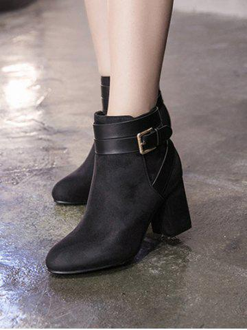 Outfits Cross Straps Buckle Chunky Heel Ankle Boots - 39 BLACK Mobile
