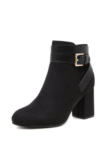 Fashion Cross Straps Buckle Chunky Heel Ankle Boots - 39 BLACK Mobile