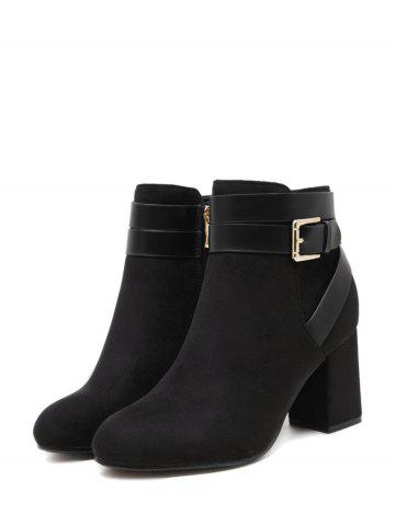 New Cross Straps Buckle Chunky Heel Ankle Boots - 39 BLACK Mobile