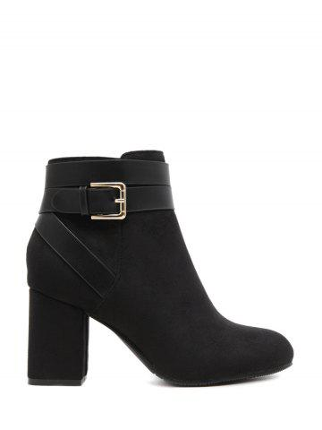 New Cross Straps Buckle Chunky Heel Ankle Boots - 38 BLACK Mobile