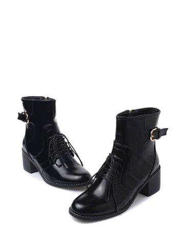 Chic Tie Up Buckle Chunky Heel Short Boots - 38 BLACK Mobile