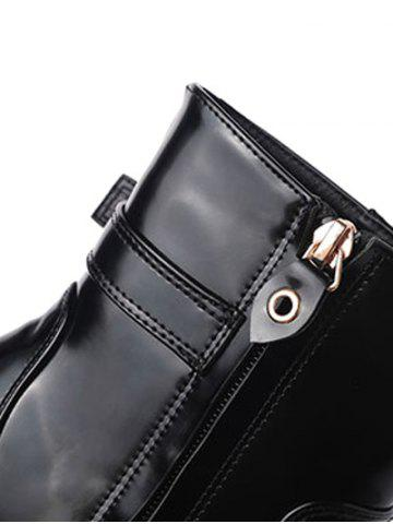 Fashion Tie Up Buckle Chunky Heel Short Boots - 38 BLACK Mobile
