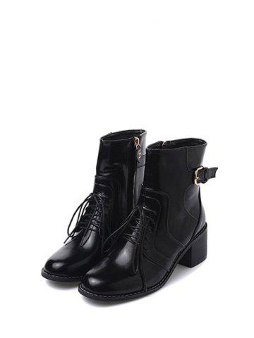 Outfit Tie Up Buckle Chunky Heel Short Boots - 38 BLACK Mobile