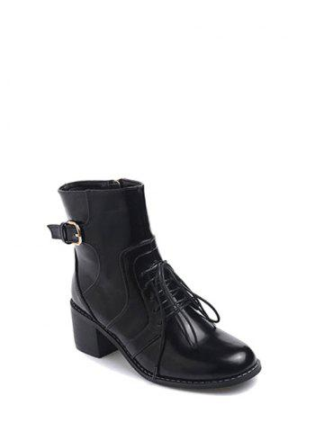 Trendy Tie Up Buckle Chunky Heel Short Boots - 38 BLACK Mobile
