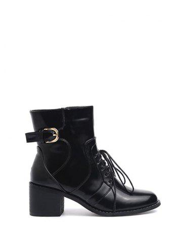 Fashion Tie Up Buckle Chunky Heel Short Boots BLACK 38