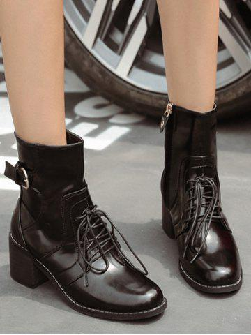 Shops Tie Up Buckle Chunky Heel Short Boots - 38 BLACK Mobile